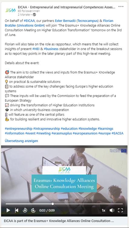 EICAA Announcement on LinkedIn
